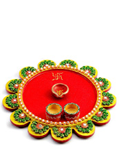 Wood Work Puja Thali
