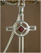 Garnet cross necklace